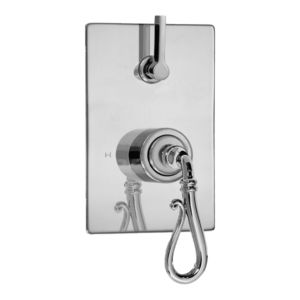 E-Mini Thermostatic - Integrated Rectangle Plate - Trim only with Bordeaux handle