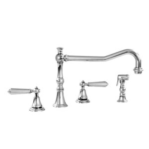 350 Series Widespread Kitchen Faucet and Metal Hand spray shown with Monte Carlo Handle (available with most Sigma handles)