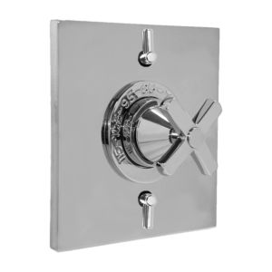 """1/2"""" Thermostatic Shower Set with Lira Handle and Two Volume Controls and Square Contemporary Plate (available as trim only P/N: 1.058296.V2T)"""