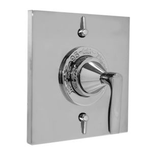 """1/2"""" Thermostatic Shower Set with Lisse handle and Two Volume Controls and Square Contemporary Plate (available as trim only P/N: 1.058396.V2T)"""