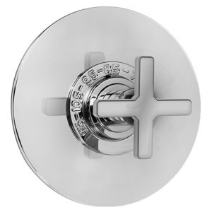 "3/4"" Thermostatic Set with Carina X Handle and 9"" Round Contemporary Plate (available as trim only 1.083097DT)"