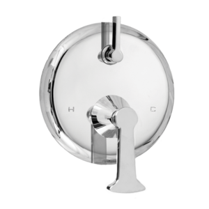 E-Mini Thermostatic Trim - Integrated Control - Round Plate with Piston Handle