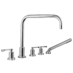 Roman Tub Set with Deckmount Handshower and Diverter Piston Handle
