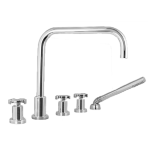 Roman Tub Set with Deckmount Handshower and Diverter Spoke Handle